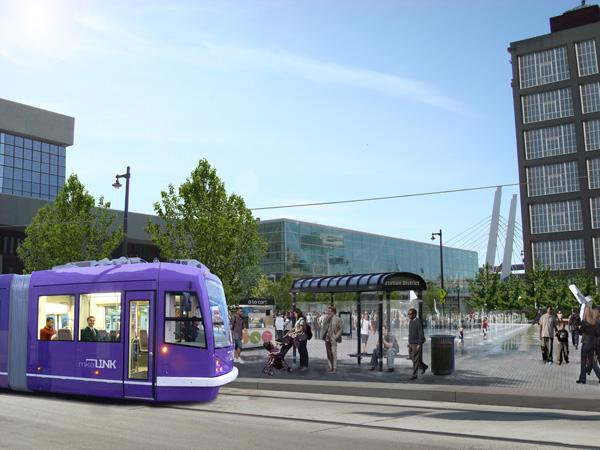 The proposed streetcar route would have a stop near the Milwaukee Intermodal Station on West St. Paul Avenue.
