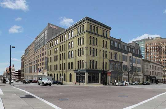 A rendering of Marriott renovation project flanking the Johnson Bank building on corner of East Wisconsin Avenue and North Milwaukee Street.