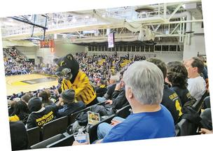 Pounce the Panther visits fans at the Klotsche Center.