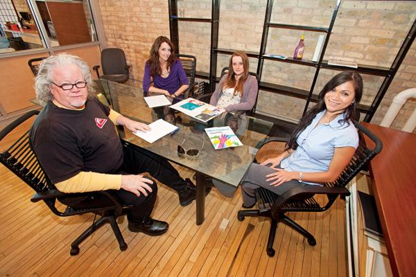 """Okanjo co-founder Mike Drescher (from left, with Lisa Castagnozzi, Amanda Griffin, Natalia Bonilla)...""""It  was a wonderful thing about doing it in Wisconsin. It has definitely helped considerably."""""""