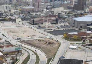 A possible site for a new basketball arena would be north of the Bradley Center.
