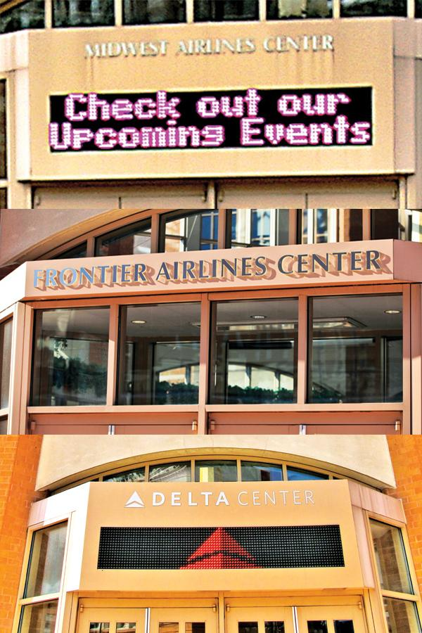 Two sponsors have come and gone for Milwaukee's downtown convention center - Midwest Airlines, previously Midwest Express Airlines (top), and Frontier Airlines (middle). A third (Delta Air Lines) will depart later this year.