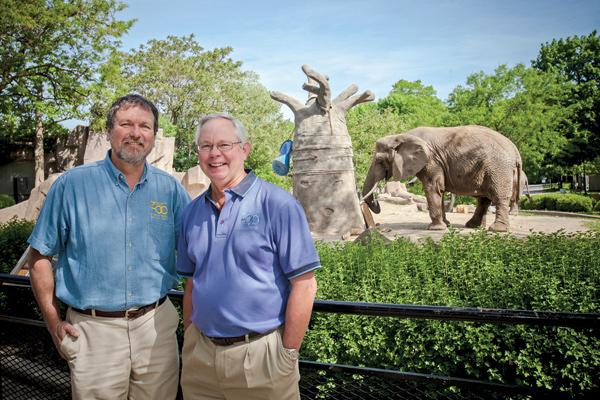 """Chuck Wikenhauser (at right, with Bruce Beehler) . . . """"Part of this (planning) process will be to determine what is the long-term future of elephants here in Milwaukee."""""""