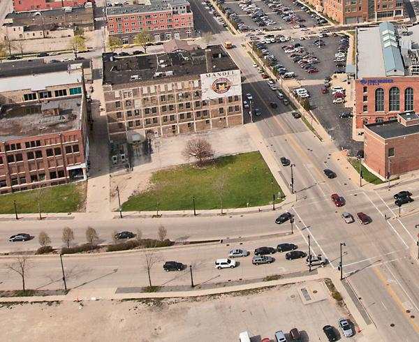 Part of the Park East corridor will stay green under a plan proposed by NEWaukee and Milwaukee officials.