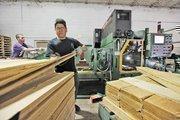 Martin Zavala works on the Viking Turbo pallet maker.