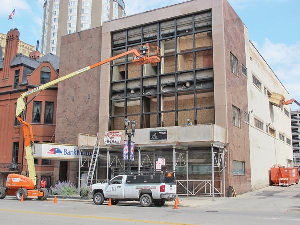 Bank Mutual is replacing a marble facade at its downtown office.