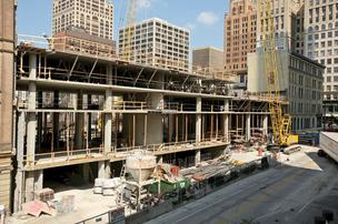 The 200-room Milwaukee Marriott is under construction on North Milwaukee Street in downtown Milwaukee.