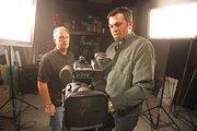 Co-founder Rich Schmig (left) and producer/director Gary Cline check a camera setup.