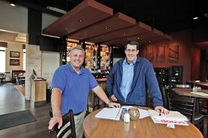 "Mike Stoner, left, with Duffy O'Neil at North Star American Bistro in Shorewood ... ""We both have a great time doing what we do. We laugh a lot."""