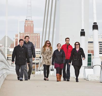 "From left, Colin Deval, Joel Swan, Chelsey Orlikowski, Jessie Deschane, Phillip Fischer and Stephanie Hungerford take a walk near their 5th Ward office.WHAT'S YOUR ROUTINE?Core CreativeADDRESS: 600 W. Virginia St., Suite 700, MilwaukeeEMPLOYEES: 36GROWTH: Up 33 percent in the last three years, adding 16 employees in the last 18 monthsCOMPANY FOUNDED: 1994WELLNESS PROGRAM HIGHLIGHTS: Multi-week campaigns based on employee areas of interest, including food and nutrition, health/wellness, biometrics, stress management, financial and time managementKEEPING IT FRESH: ""Fight the Bulge"" campaign is in progress, plans to expand the employee sharing reference library, possible kayak outing on the river, more financial and time management focused initiatives"