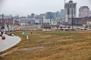 The Park East corridor looking east. Wangard Partners'  first phase of its development would have 86 market-rate apartments in a five-story  building.