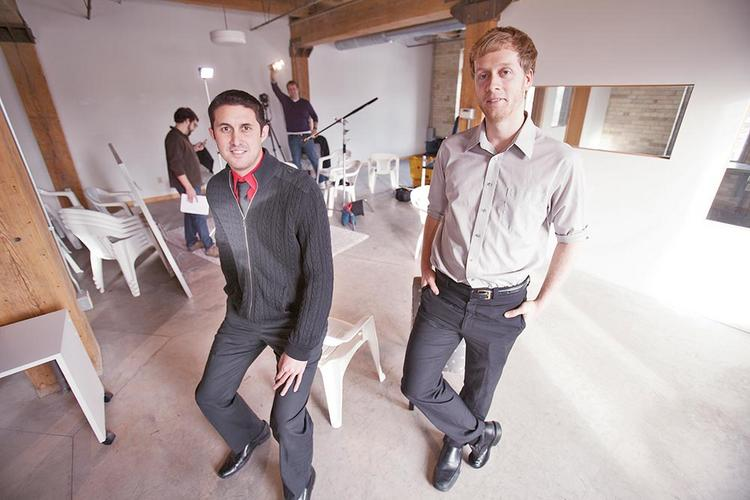 """Justin Schnor, left, with Kyle Buckley . . . """"It certainly turned into some buzz for us."""""""