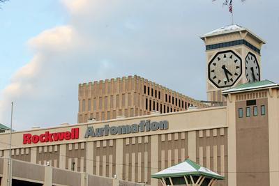 The Rockwell Automation clock tower celebrated 50 years with new LED lights.