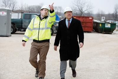 """Rick Schmidt (right, with project manager Dan Duerrwaechter at Concordia University where CG Schmidt is building a pharmacy school)   . . . """"We're still looking for opportunities for 2011."""""""