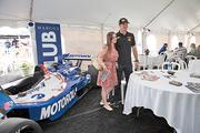 Winning driver Ryan Hunter-Reay greeted a fan before the race in  the Marcus Club tent.
