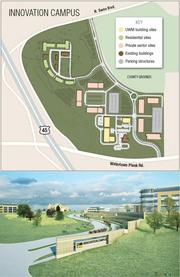 The hotel is proposed for the private-sector sites at the far east end of the campus.