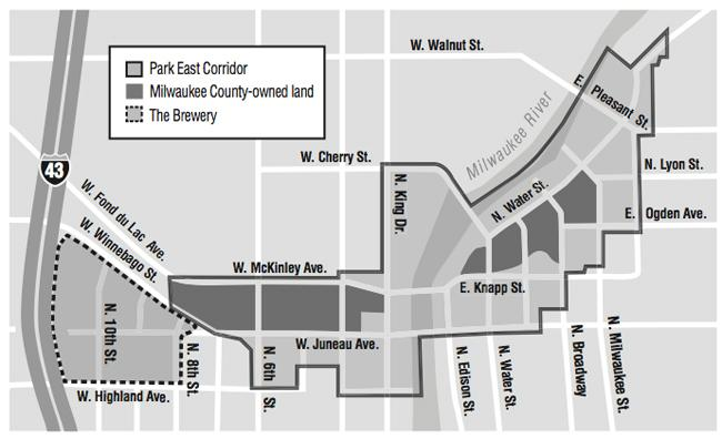 The withdrawn RFP covered the easternmost county-owned parcel in the Park East development area, a roughly 2-acre block bordered by North Water Street, North Broadway, East Ogden Street and North Milwaukee Street.