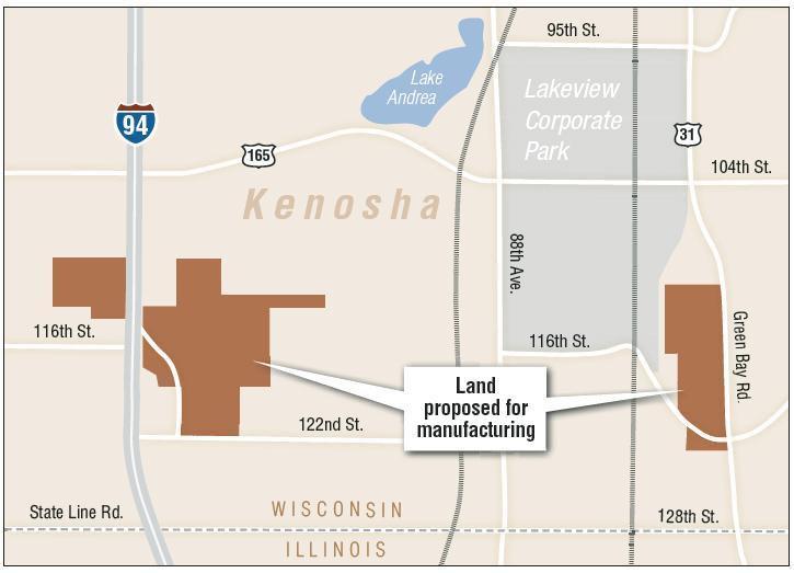 The land is split into two areas near the LakeView Corporate Park and I-94.