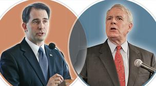 The recall election will pit Scott Walker (left) vs. Tom Barrett.