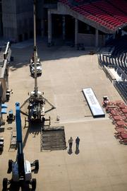 Work is ongoing at LP Field in advance of the Titans' first home preseason game on Aug. 23.