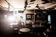 Inside the set's replica Bluebird Cafe.