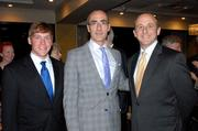 American Enterprise Institute President Arthur Brooks, center, at a recent Beacon Center of Tennessee event. Alongside are Beacon CEO Justin Owen, left, and Chairman John Cerasuolo. Brooks spoke at the Beacon Center event on the morality of capitalism.