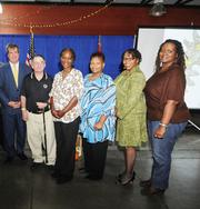 """The Mayor's Advisory Committee for People with Disabilities and Vanderbilt Center for Excellence in Developmental Disabilities awarded Progress Inc. with four of the 12 awards presented at the 31st Annual Mayor's Awards, which took place Oct. 25 at the Nashville Farmers' Market. Mayor Karl Dean and advisory committee members honored Progress with the 2012 Agency Award for the organization's ability to find """"creative and innovative"""" ways in providing care to adults with disabilities and seniors. Pictured, are Mayor Karl Dean, Jo Andrews Award Winner Robert Page, Direct Support Professional Award Winner Pam Reed, Family Award Winner Terri Newsome, Agent of Change Award Winner Lanitta Joseph and Meika McClendon."""