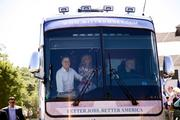 Presidential candidate Mitt Romney and his wife, Anne Romney, take a ride on one of the campaign buses operated by a Nashville company.