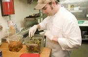 Mason at work inside the Provence kitchen.