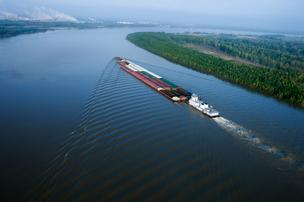 Barges on the Mississippi River