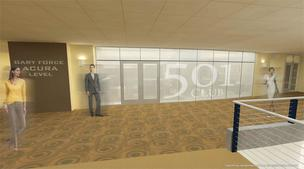 A rendering of the entrance to the new 501 Club guest suite at Bridgestone Arena.