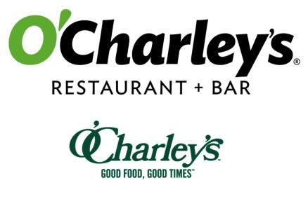 O'Charley's new logo is featured above its former logo.