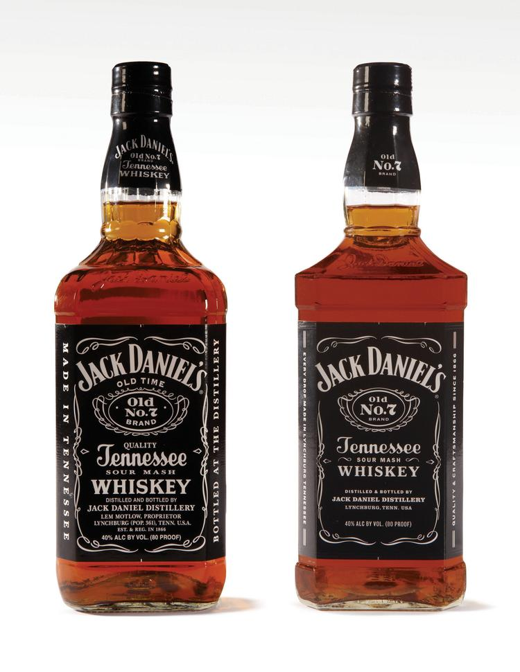 The new bottle, at right, for Jack Daniel's Old No. 7 Tennessee Whiskey.