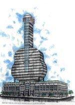 Strings guitar-shaped building looking at 3 Nashville sites