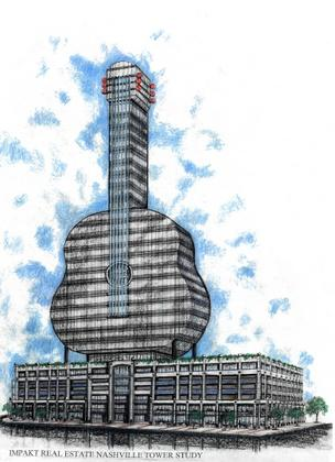 An updated rendering of the proposed Strings office tower.
