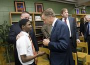 Gov. Bill Haslam meets with student Demetrius McCann at Stratford High School in East Nashville.