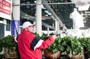 Mike Barnes works at Barnes Produce rinsing the locally grown turnip greens at the Nashville Farmers' Market.