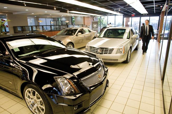 The showroom of Andrews Cadillac in Brentwood, which is regarded as one of the most business-friendly cities in Tennessee.