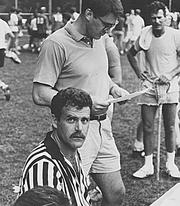 Baer signs up players for the first Nashville Lacrosse Summer League in 1990.