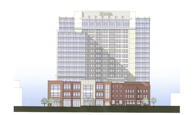 Pictured is a 2008 conceptual drawing of an approved hotel project at lower Broadway. Denver-based Swerdling Associates is now trying to buy the site and move forward with development of a hotel. Development of the site is governed by a zoning plan that was prompted by the previous plans for the property.