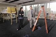 Mekesha Montgomery and Robert Sartin survey Frost Brown Todd's new office space in The Pinnacle at Symphony Place, where the firm plans to take up to two floors.