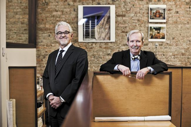 """Ronald Gobbell, left, and Steve Hays of Gobbell Hays Partners Inc. have been business partners for the past 35 years. """"We've become best friends over the years,"""" said Hays, who noted that it was """"helpful that we got together young before we were molded,"""" making it easier to collaborate and work together."""