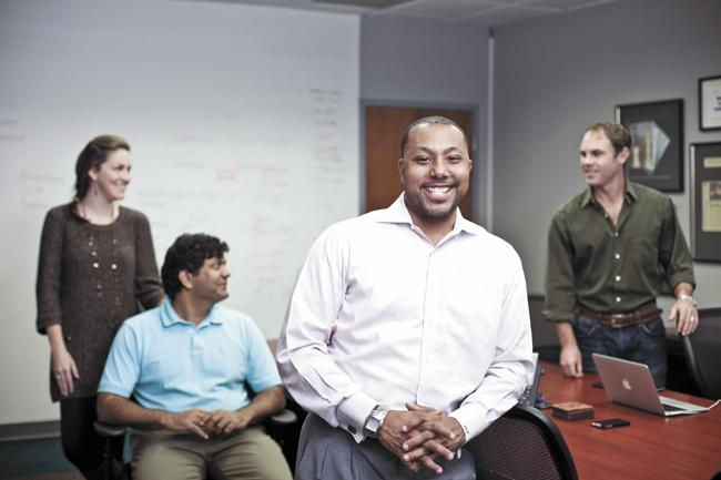 """LeShane Greenhill, co-founder Raj Menon, second from left, and members of the advisory board to their company Sagents. """"If you choose the right people, you get individuals who compensate for your weaknesses,"""" Greenhill said about the advisory board. """"It keeps you accountable."""""""