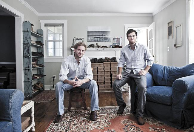 """Nisolo CEO Patrick Woodyard, right, and Nick Meyer, vice president of business development, launched their shoe company in 2011, seeking to help artisians in Peru by selling their products globally. """"If we're not here tomorrow, we want to make sure people we work with are better off in the long term,"""" Woodyard said. The duo operates the company from a house in Nashville's Melrose neighborhood."""