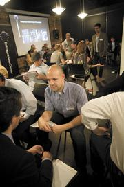 """David Rodriguez attends a """"speed dating"""" event at the Entrepreneur Center. The center is a key player in boosting Nashville's startup community."""