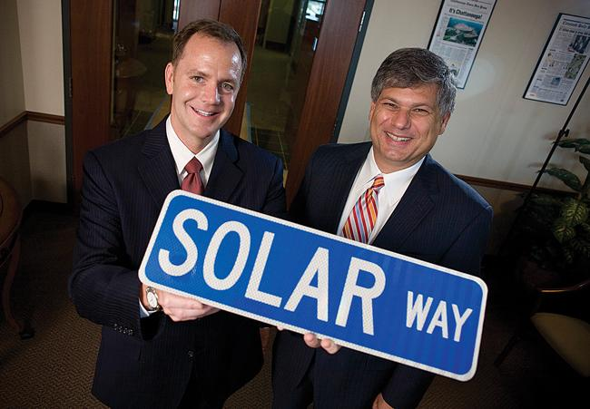 Former state officials Reagan Farr, left, and Matt Kisber have launched Silicon Ranch, a solar power company.