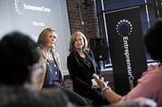 Paula Lovell of Lovell Communications and Beth Chase at the the Women's Coffee at the Entrepreneur Center.