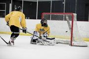 Mason Brown attempts to defend the goal against Braiden Dorfman during a practice at A-Game Sportsplex in Franklin.