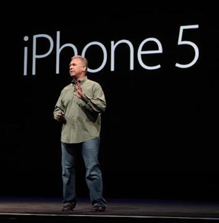 Apple Senior Vice President Philip Schiller discusses the new iPhone 5 at a press event in San Francisco.