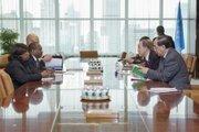 The UN Secretary-General Ban Ki-moon (right) meets with Dr. Hamadoun I. Touré (left), Secretary-General, ITU.